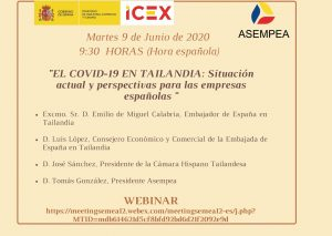 "WEBINAR: ""COVID-19 in Thailand: Current Situation and Prospects for Spanish Companies"""